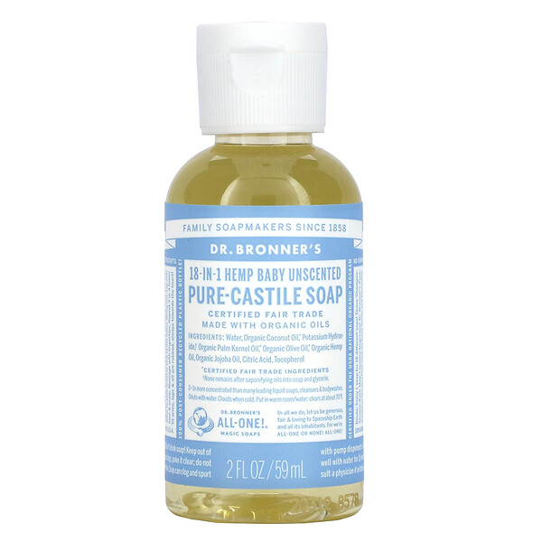 18-in-1 Hemp Pure-Castile Soap, Baby Unscented , 2 fl oz ( 59 ml)