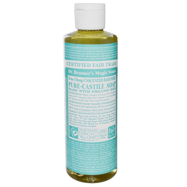 Dr. Bronner's Magic Soaps, 18-in-1 Hemp Baby Mild Pure Castile Soap, Unscented, 8 fl oz (237 ml) (Discontinued Item)