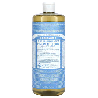 Dr. Bronner's, 18-in-1 Hemp Pure-Castile Soap, Baby  Unscented , 32 fl oz (946 ml)
