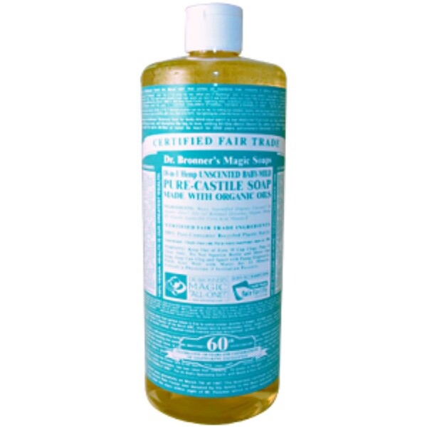 Dr. Bronner's Magic Soaps, 18-in1 Hemp Unscented Baby-Mild Pure-Castile Soap, 32 fl oz (944 ml) (Discontinued Item)
