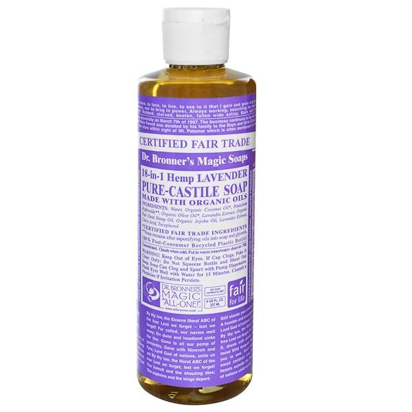 Dr. Bronner's Magic Soaps, Pure Castile Soap, 18-in-1 Hemp Lavender, 8 fl oz (237 ml) (Discontinued Item)