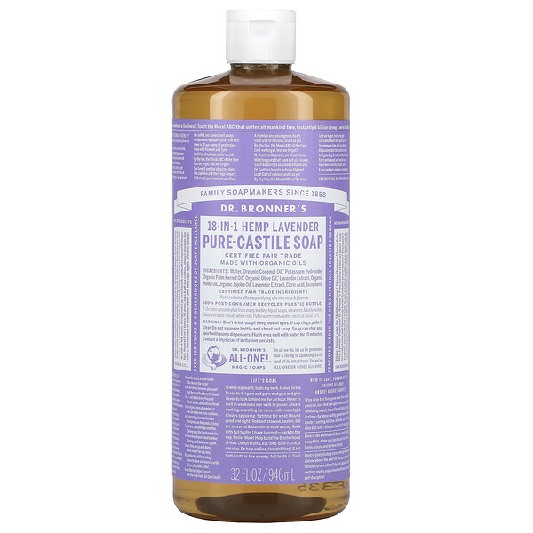 18-in-1 Hemp Pure-Castile Soap, Lavender, 32 fl oz (946 ml)