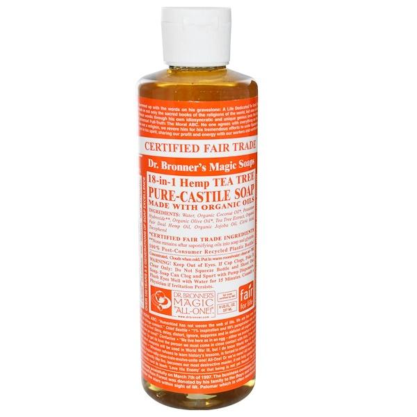 Dr. Bronner's, Pure Castile Soap, 18-1 Hemp Tea Tree, 8 fl oz (237 ml) (Discontinued Item)