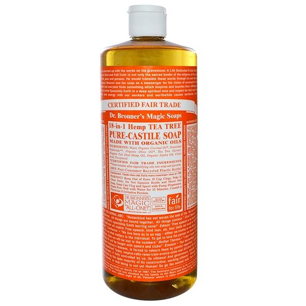 Dr. Bronner's, Pure Castile Soap, 18-1 Hemp Tea Tree, 32 fl oz (945 ml) (Discontinued Item)