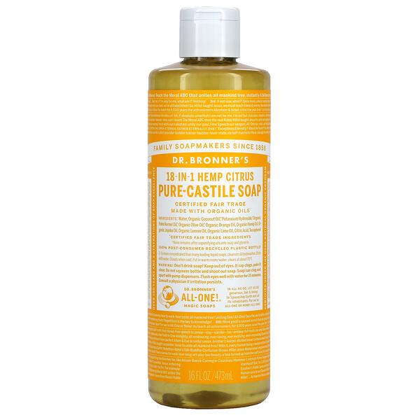 Dr. Bronner's, 18-in-1 Hemp Citrus, Pure-Castile Soap, 16 fl oz ( 473 ml)