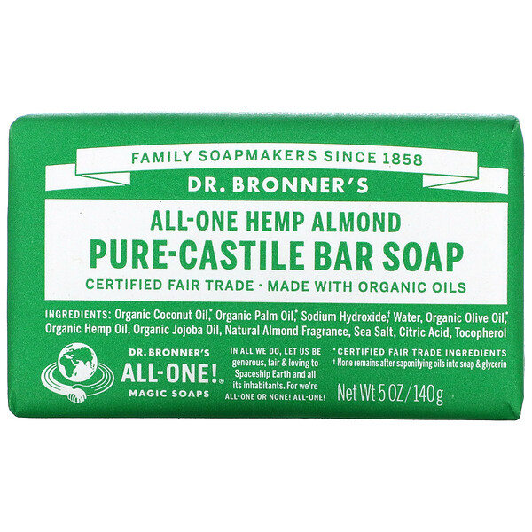 Pure Castile Bar Soap, All-One Hemp, Almond, 5 oz (140 g)