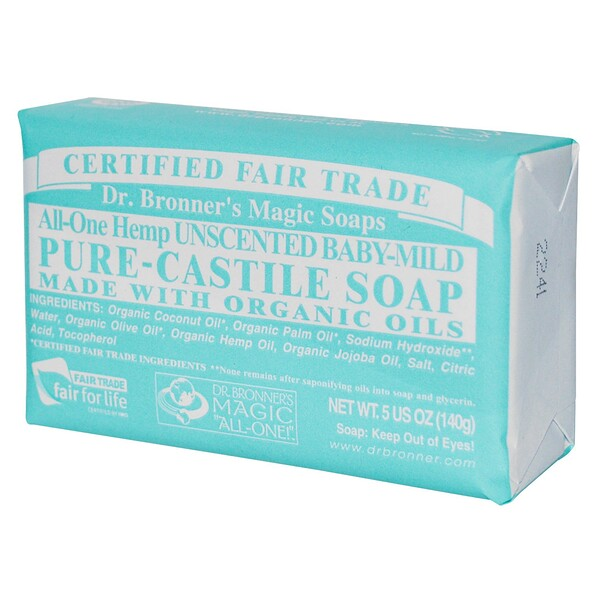 Dr. Bronner's Magic Soaps, Pure Castile Soap, Hemp Baby Mild, Unscented, 5 oz (140 g) Bar (Discontinued Item)