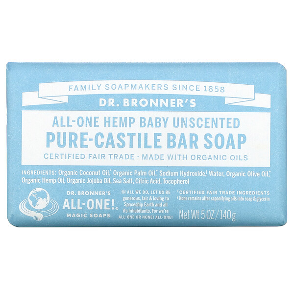 Pure Castile Soap, All-One Hemp,  Baby Unscented, 5 oz (140 g)
