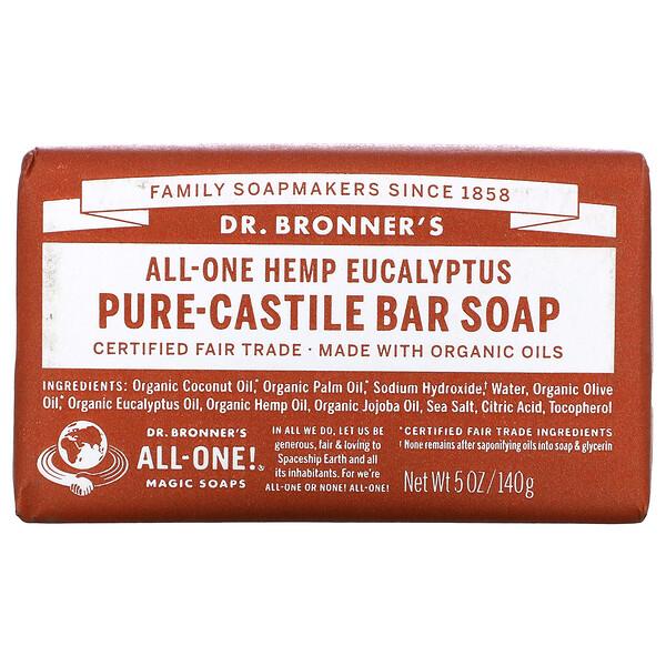 Pure-Castile Bar Soap, All-One Hemp, Eucalyptus, 5 oz (140 g)