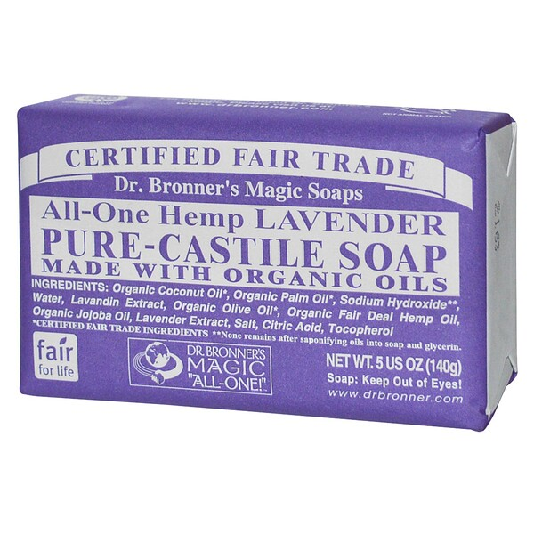 Dr. Bronner's Magic Soaps, Hemp Lavender, Pure Castile Soap, 5 oz (140 g) Bar (Discontinued Item)