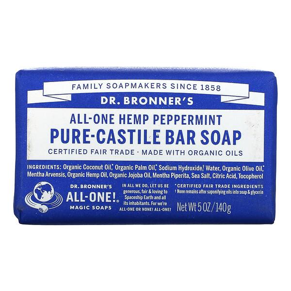 Pure Castile Bar Soap, All-One Hemp, Peppermint, 5 oz (140 g)
