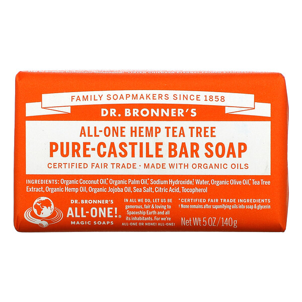Pure Castile Bar Soap, All-One Hemp, Tea Tree, 5 oz (140 g)
