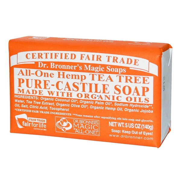 Dr. Bronner's Magic Soaps, Pure Castile Soap, All-One Hemp Tea Tree, 5 oz (140 g) (Discontinued Item)