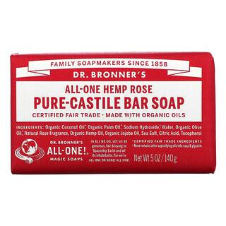 Dr. Bronner's,  Pure Castile Bar Soap, All-One Hemp, Rose, 5 oz (140 g)