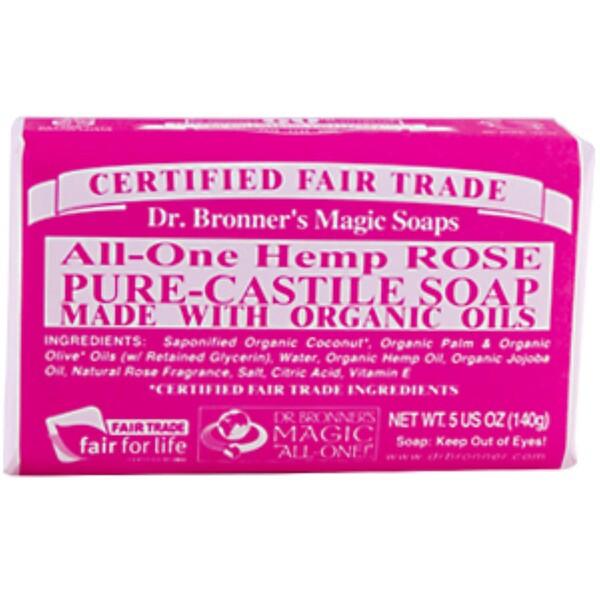 Dr. Bronner's Magic Soaps, Hemp Rose, Pure Castile Soap, 5 oz (140 g), 1 Bar (Discontinued Item)