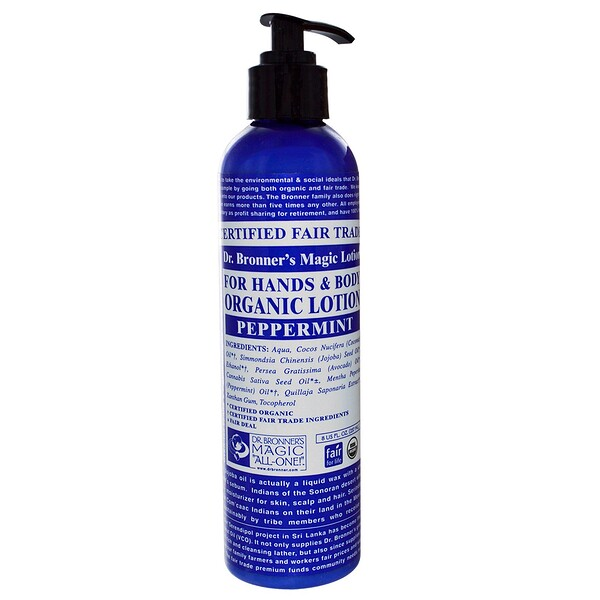 Dr. Bronner's Magic Soaps, Organic Lotion, For Hands & Body, Peppermint, 8 fl oz (237 ml) (Discontinued Item)
