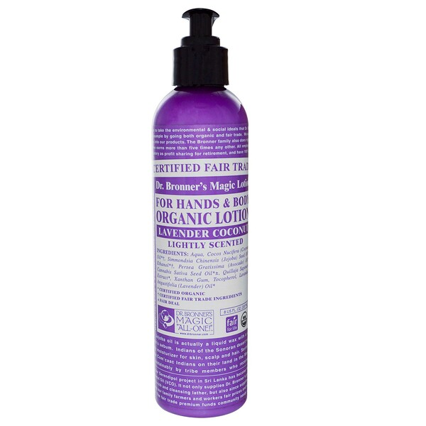 Dr. Bronner's Magic Soaps, Organic Lotion, Lavender Coconut, 8 fl oz (237 ml) (Discontinued Item)