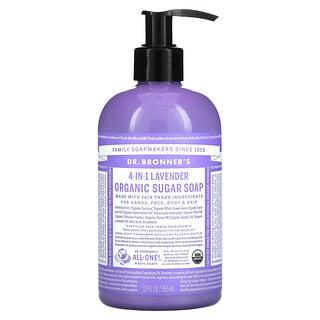 Dr. Bronner's, 4-in-1 Organic Sugar Soap, For Hands, Face, Body & Hair, Lavender, 12 fl oz (355 ml)