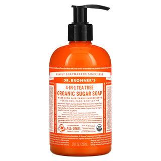 Dr. Bronner's, 4-in-1 Organic Sugar Soap, For Hands, Face, Body & Hair, Tea Tree , 12 fl oz (355 ml)