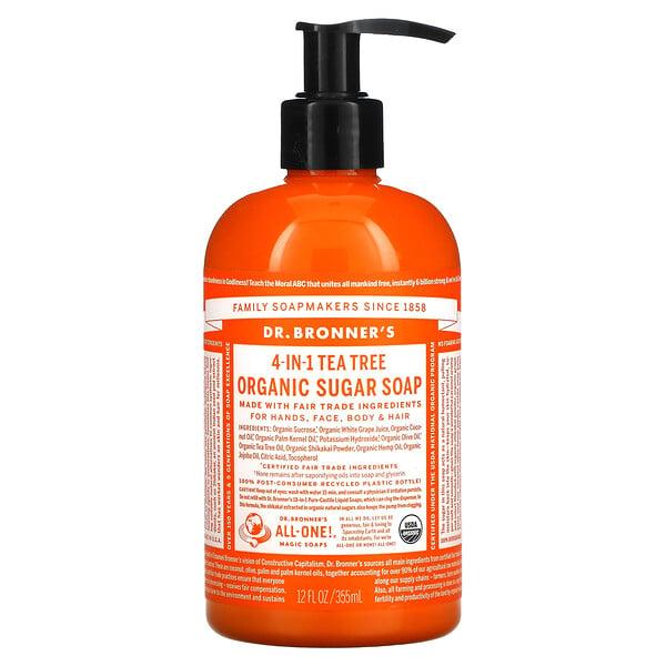 4-in-1 Organic Sugar Soap, For Hands, Face, Body & Hair, Tea Tree , 12 fl oz (355 ml)