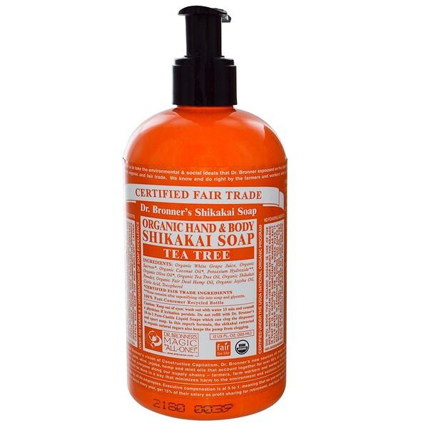 Dr. Bronner's Magic Soaps, Organic Hand & Body Shikakai Soap, Tea Tree, 12 fl oz (355 ml) (Discontinued Item)
