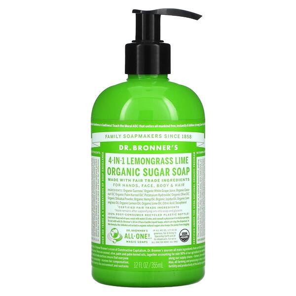 4-in-1 Organic Sugar Soap, For Hands, Face, Body & Hair, Lemongrass Lime, 12 fl oz (355 ml)