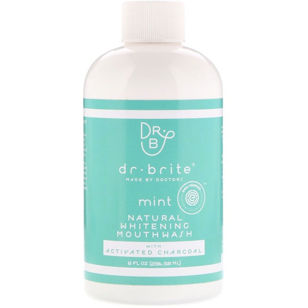 Dr. Brite, Antisséptico Bucal de Clareamento Natural com Carvão Ativado, Menta, 8 fl oz (236,58 ml)
