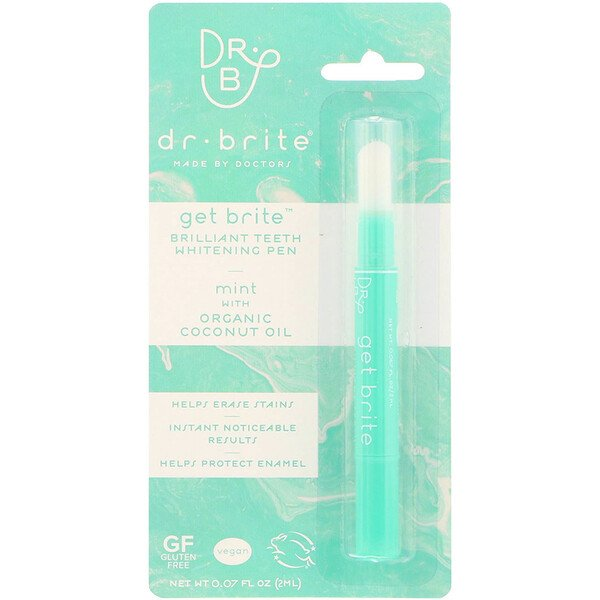 Dr. Brite, Get Brite, Brilliant Teeth Whitening Pen, Mint, 0.07 fl oz (2 ml) (Discontinued Item)