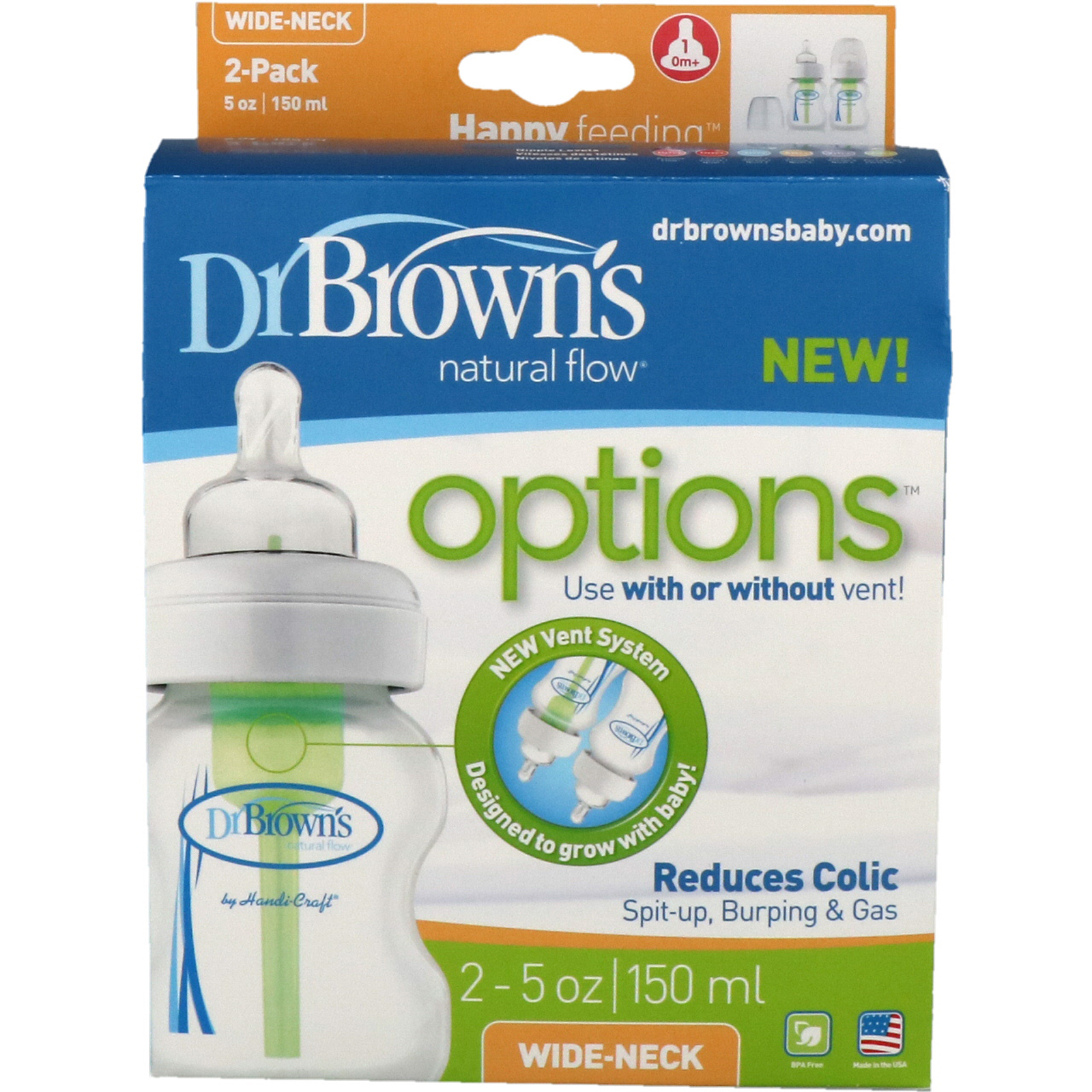 Dr Browns Natural Flow Options Wide Neck 0 Months 2 Pack Bottle Soother Gift Set Blue Pink Click To Zoom
