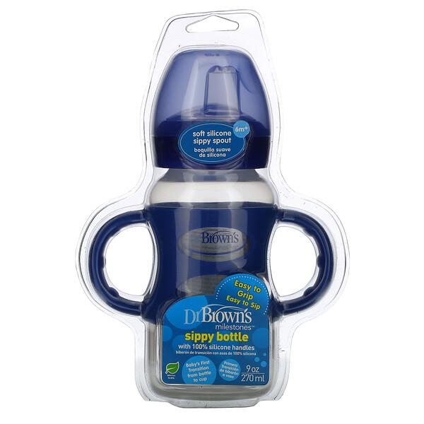 Wide-Neck Sippy Bottle, 6M+, Blue, 9 oz (270 ml)