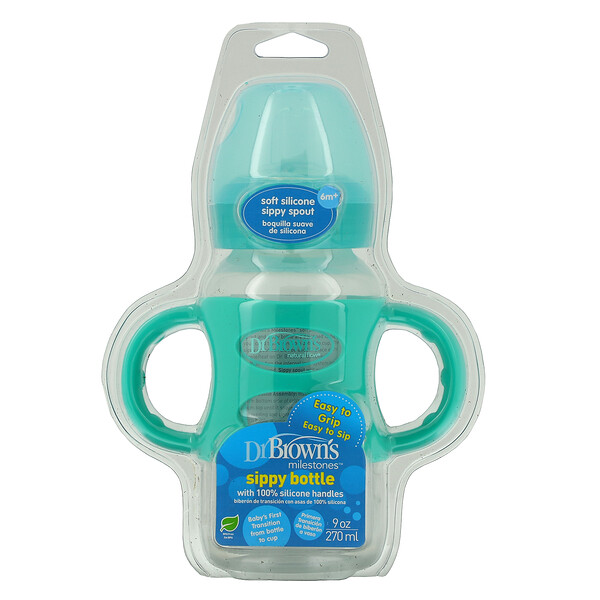 Dr. Brown's, Milestones, Sippy Bottle, 6M+, Turquoise, 9 oz (270 ml)