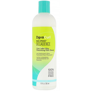 DevaCurl, No-Poo, Decadence, Zero Lather Ultra, увлажняющее очищающее молочко, 355мл