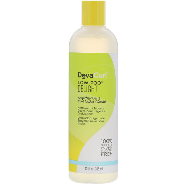 DevaCurl, Low-Poo, Delight, Weightless Waves Mild Lather Cleanser, 12 fl oz (355 ml)