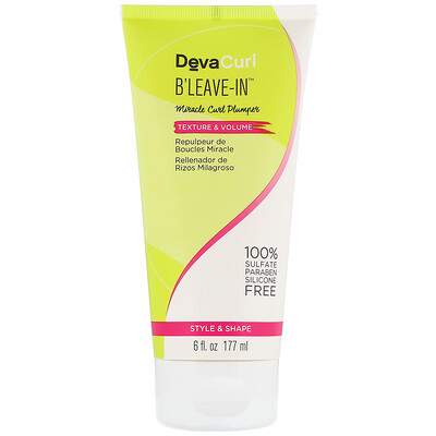 DevaCurl B'Leave-In, гель для кудрявых волос, текстура и объем, 177мл