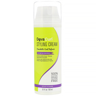 DevaCurl, 造型霜,柔潤卷髮定型劑,定型和造型,5.1 液量盎司 (150 毫升)
