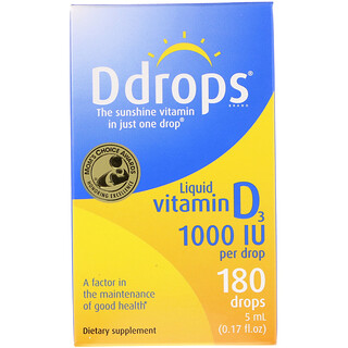 Ddrops, Liquid Vitamin D3, 1000 IU, 0.17 fl oz (5 ml)