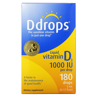 Ddrops, 液體維生素D3, 1000 IU, 0.17液盎司(5 毫升)