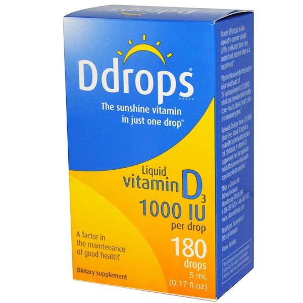 Ddrops, 液體維生素D3, 1000 IU, 0、17液盎司(5 毫升)