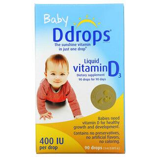 Ddrops, 嬰兒,液態維生素 D3,400 國際單位,90 滴,0.08 液量盎司(2.5 毫升)