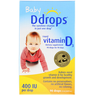 Ddrops, Baby, Liquid Vitamin D3, 400 IU, 0.08 fl oz (2.5 ml), 90 Drops
