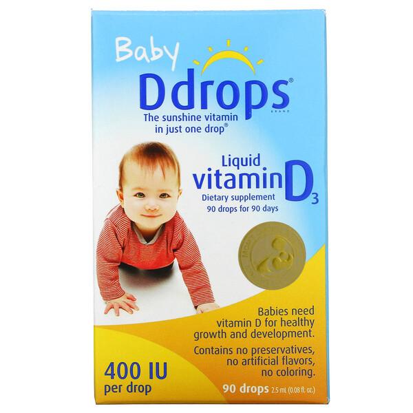 жидкий витаминD3 для детей, 400МЕ, 90капель, 2,5мл (0,08мл)