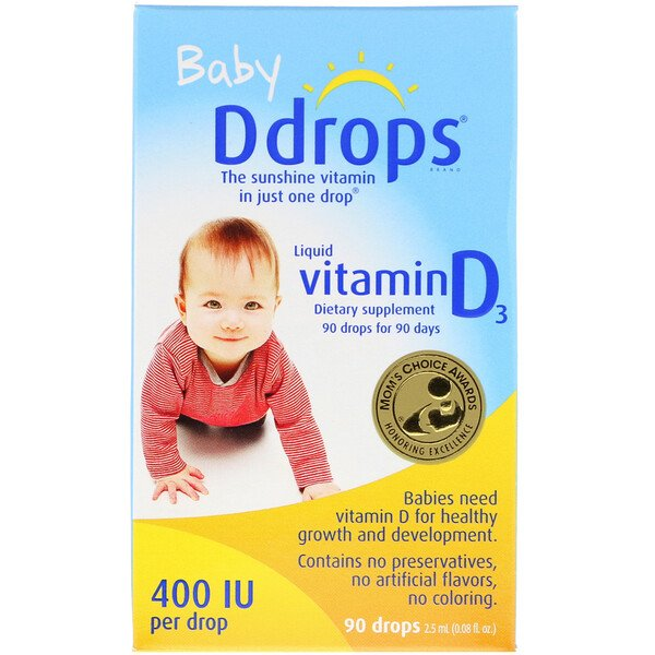 Ddrops, Baby, Liquid Vitamin D3, 400 IU, 90 Drops, 0.08 fl oz (2.5 ml)