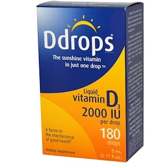 Ddrops, Liquid Vitamin D3, 2000 IU, 0.17 fl oz (5 ml)