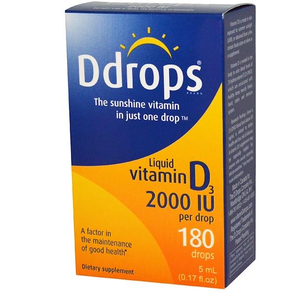 Ddrops, Жидкий витамин D3, 2000 МЕ, 0,17 жидких унций (5 мл)