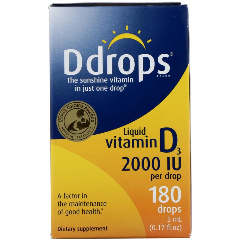 Ddrops, 液體維生素D3, 2000 IU, 0.17液盎司(5毫升)