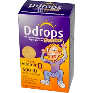 Ddrops, Booster, Liquid Vitamin D3, 600 IU, 0.09 fl oz (2.8 ml)