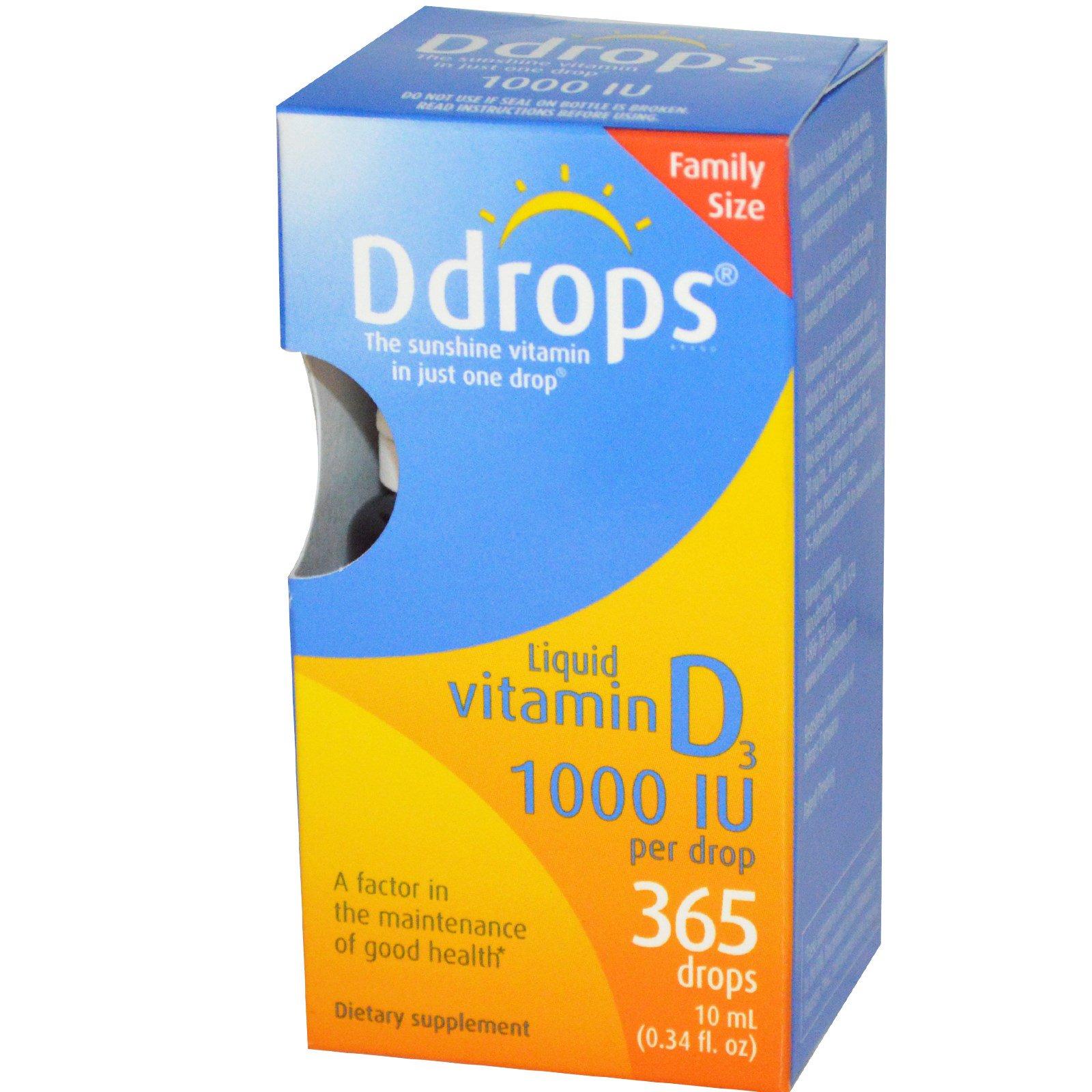 Ddrops, Жидкий витамин D3, 1000 МЕ, 0,34 жидких унций (10 мл)