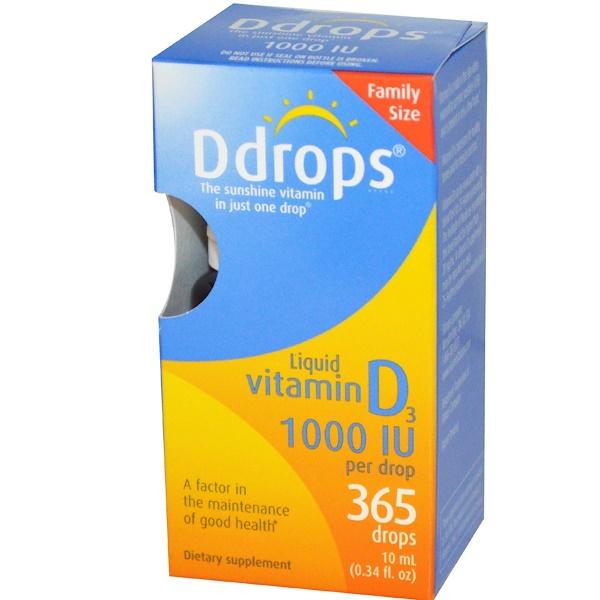 Ddrops, 液體維生素D3, 1000 IU, 0、34 液盎司(10毫升)