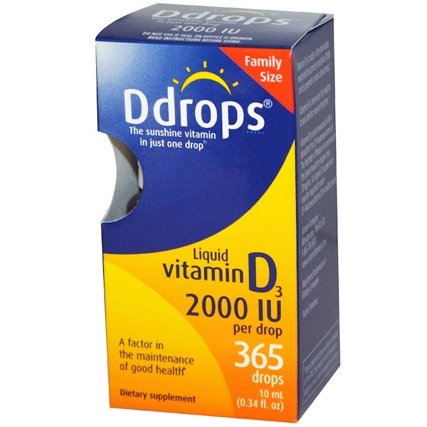Ddrops, Жидкий витамин D3, 2000 МЕ, 0,34 жидких унций (10 мл) (Discontinued Item)