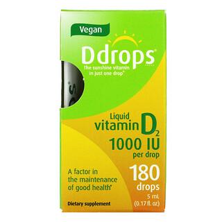 Ddrops, 液體維生素 D2,1,0000 國際單位,017 液量盎司(5 毫升)
